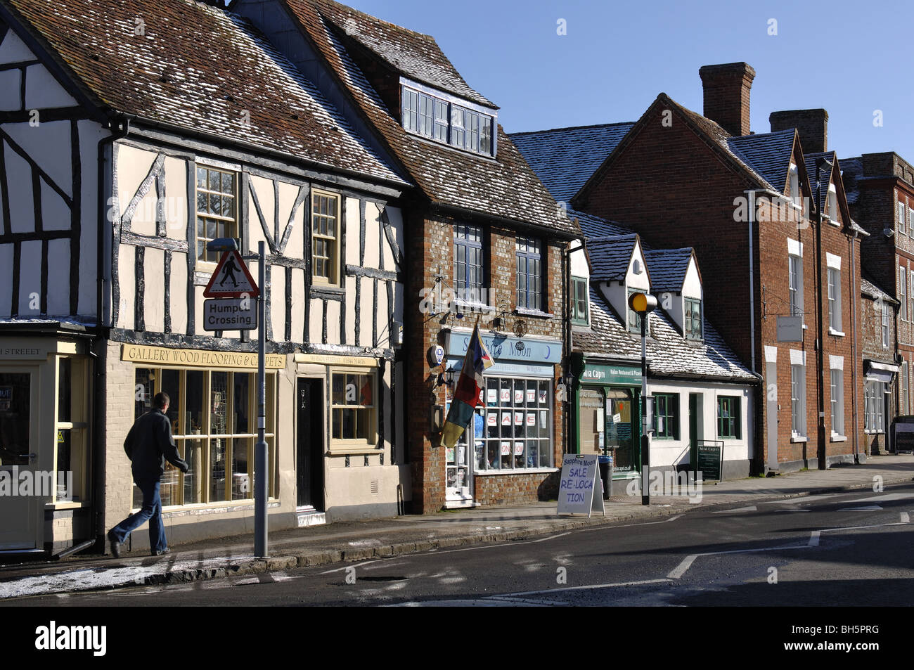 High Street in winter, Thame, Oxfordshire, England, UK - Stock Image