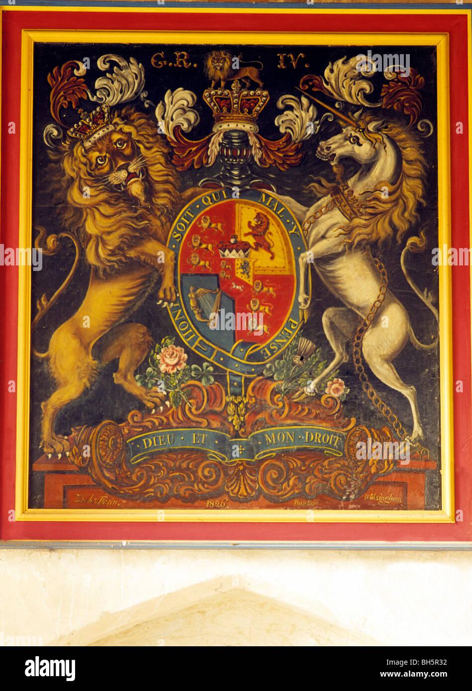 Burnham Norton, Arms of King George IV Royal coat of arms heraldry heraldic device English devices lion lions unicorn - Stock Image