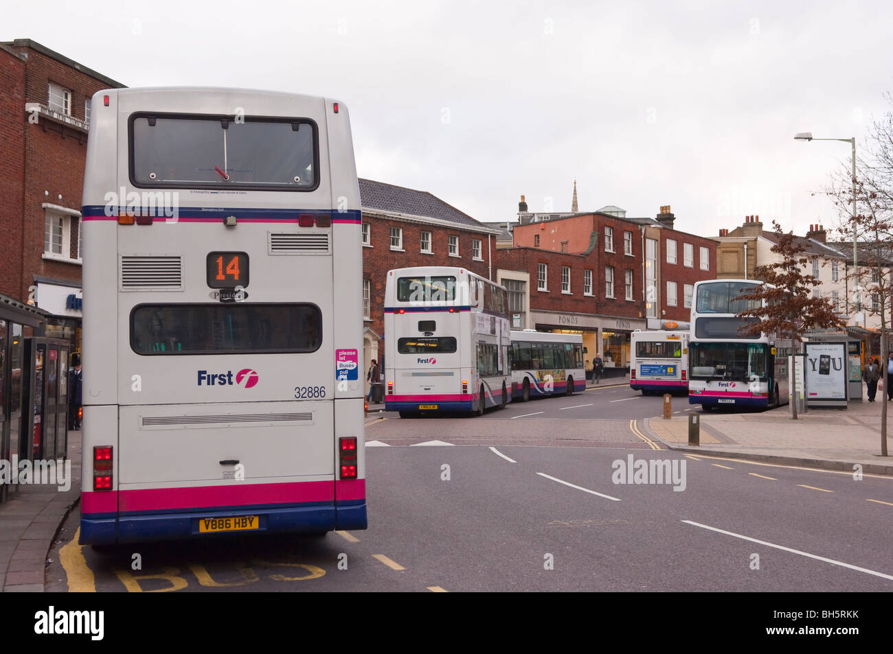 Public transport buses in Norwich , Norfolk , England , Britain , Uk Stock Photo