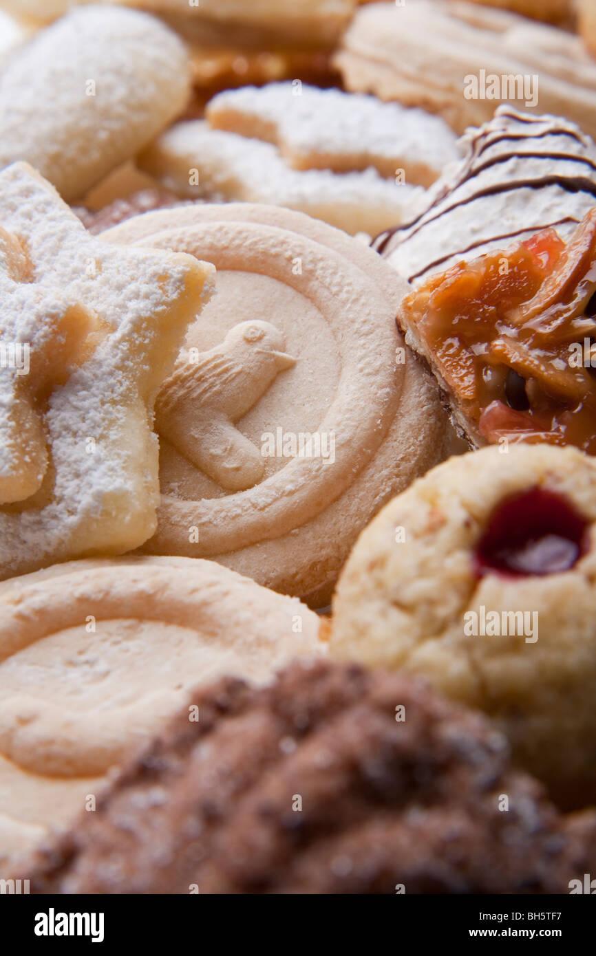 Weihnachtsgebäck Springerle.Different Christmas Cookies Coconut Macaroons Vanille Kipferl