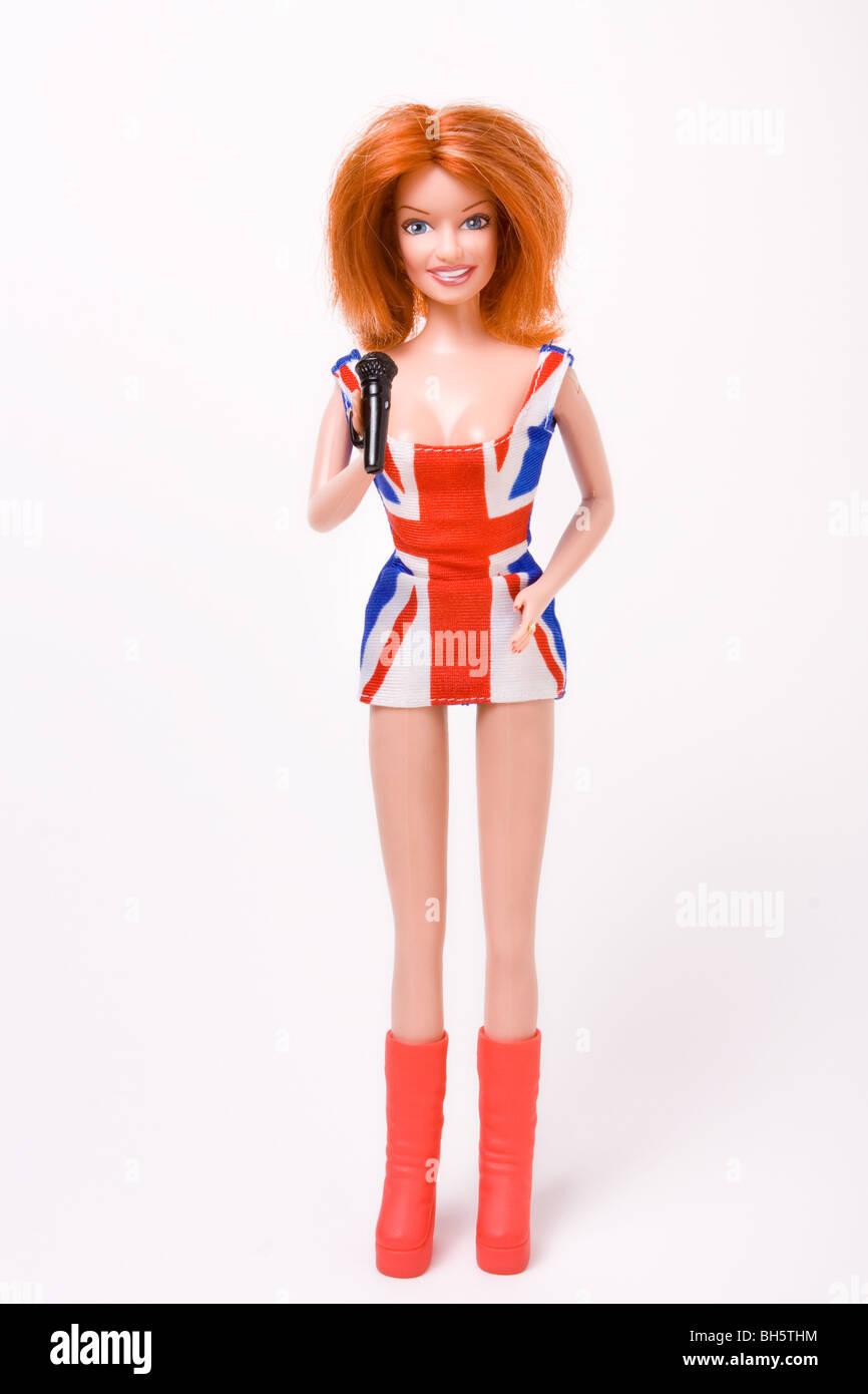 Geri Halliwell doll wearing that dress the union jack dress - Stock Image