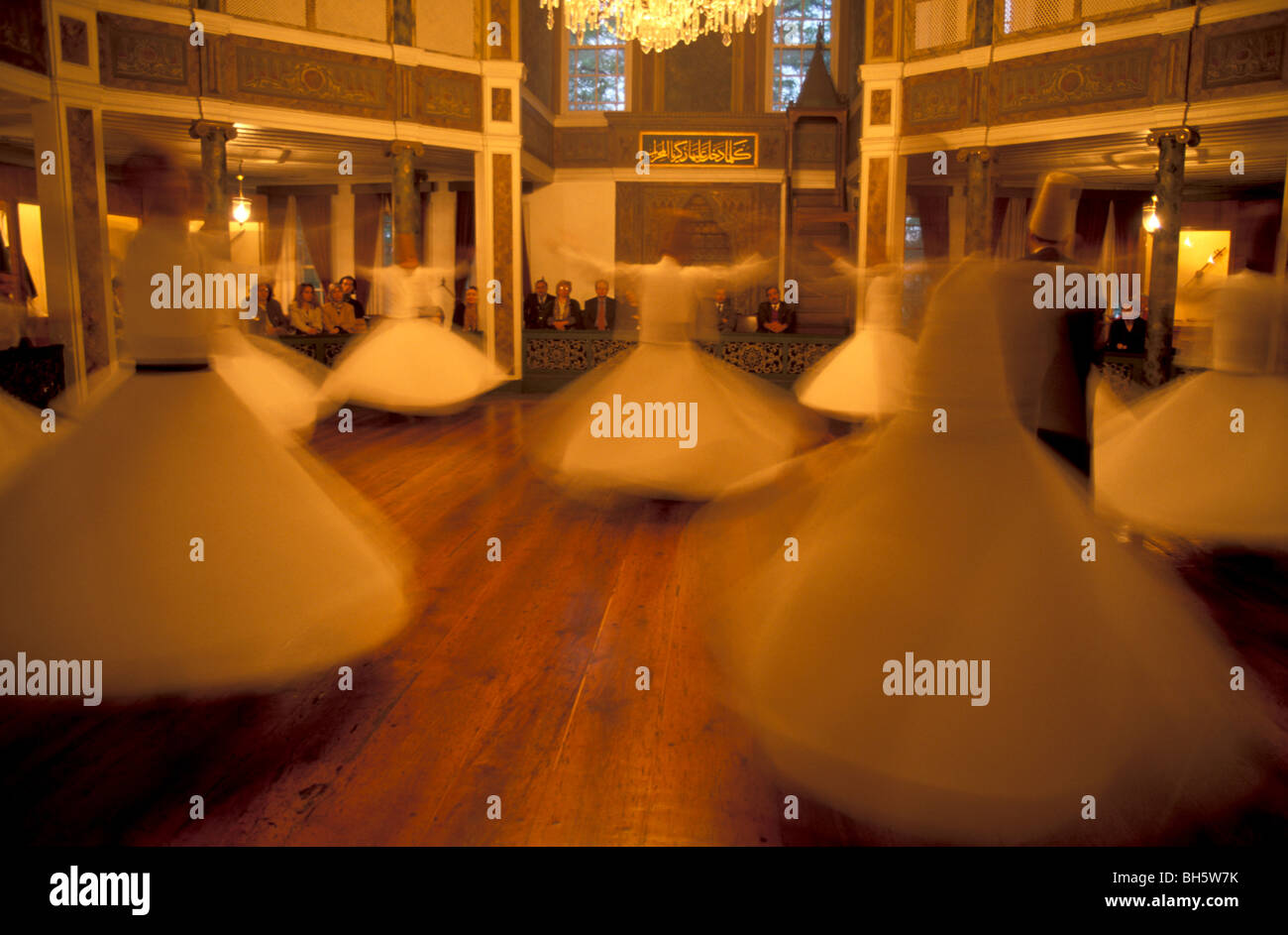 Turkey, Istanbul. The Whirling Dervishes, Sema performance at the Galata Mevlevihanesi - Stock Image
