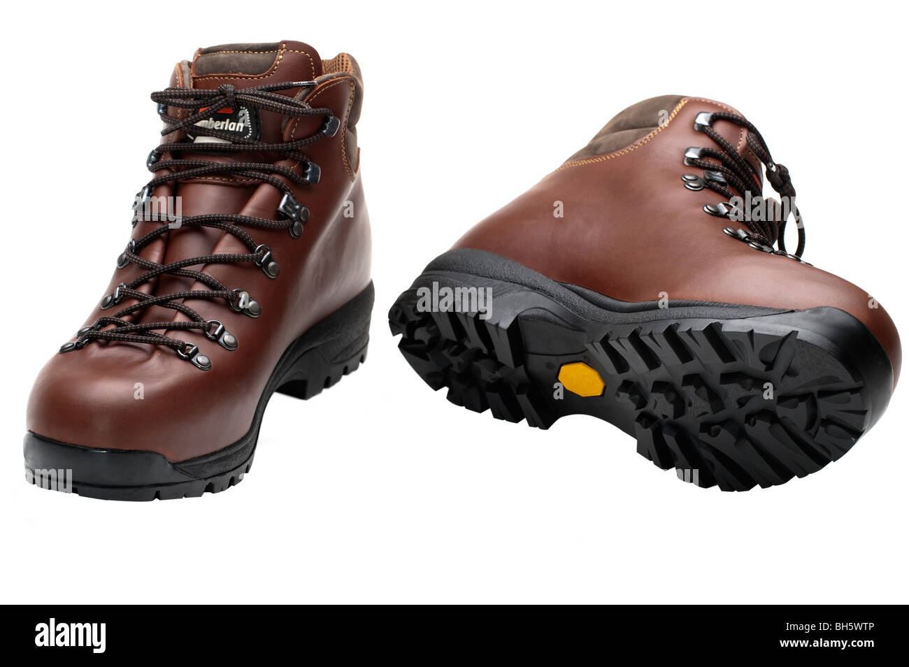 4d7f0ae8d69 Pair of mens brown leather walking boots size 10 Stock Photo ...