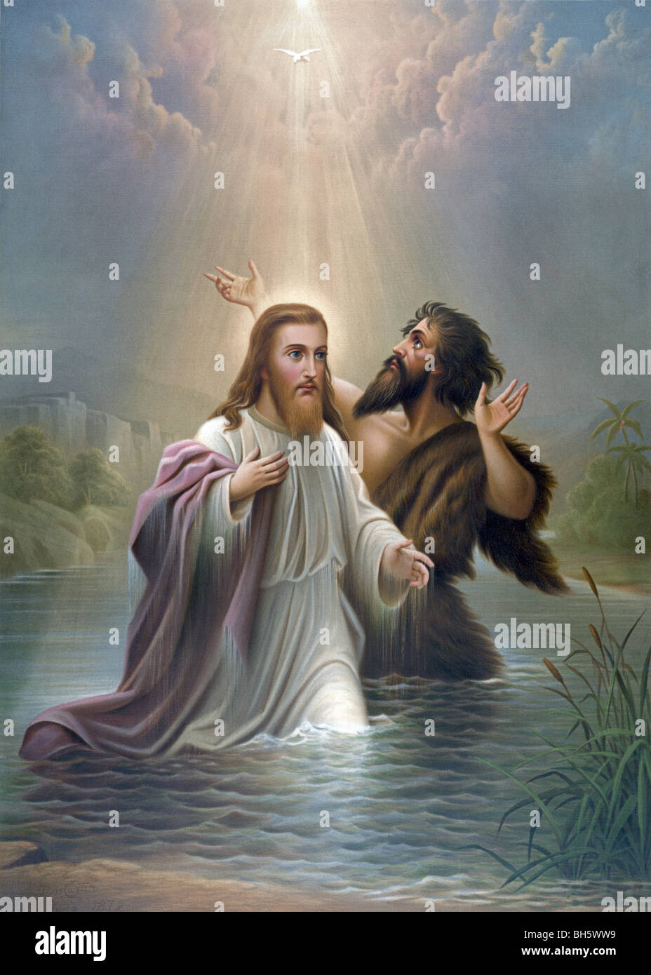 Print c1873 entitled 'The Baptism of Christ' and showing Jesus being baptised by John the Baptist in the - Stock Image