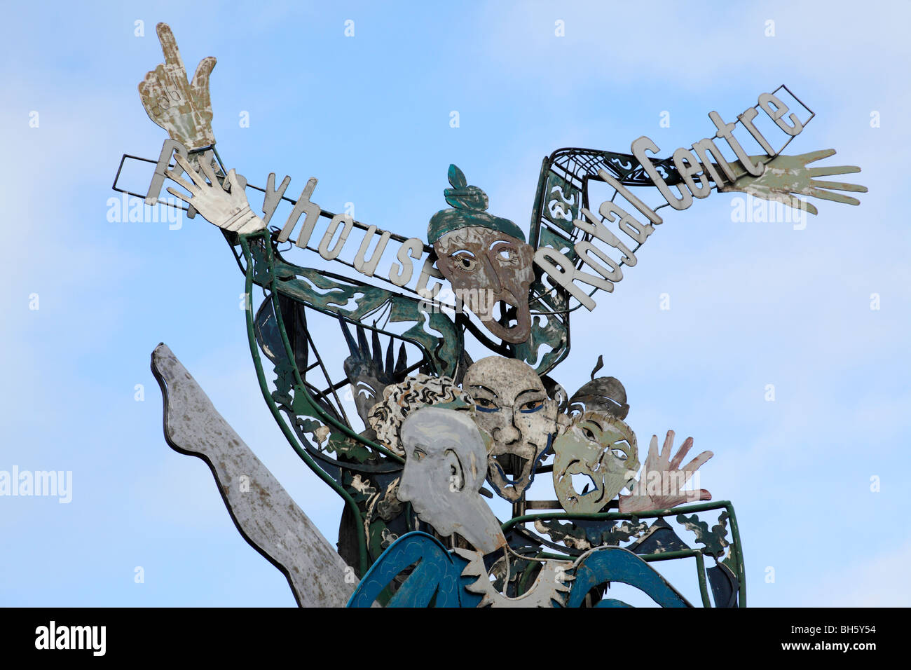 sculpture for the playhouse royal centre moved to maid marian way nottingham uk - Stock Image