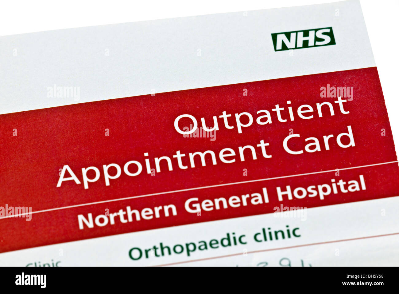 NHS outpatient appointment card - Stock Image