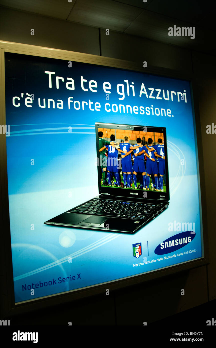 Laptop cell cellular phone Soccer Football Samsung Airport Rome Italy telephone - Stock Image