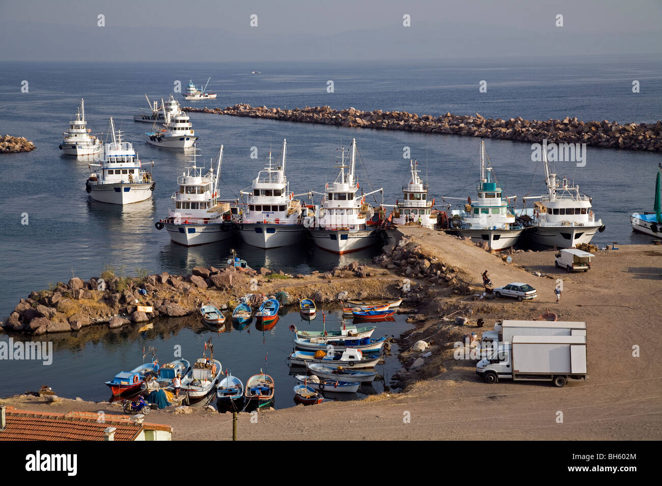 Fishing boats in Babakale harbor, Canakkale Turkey - Stock Image