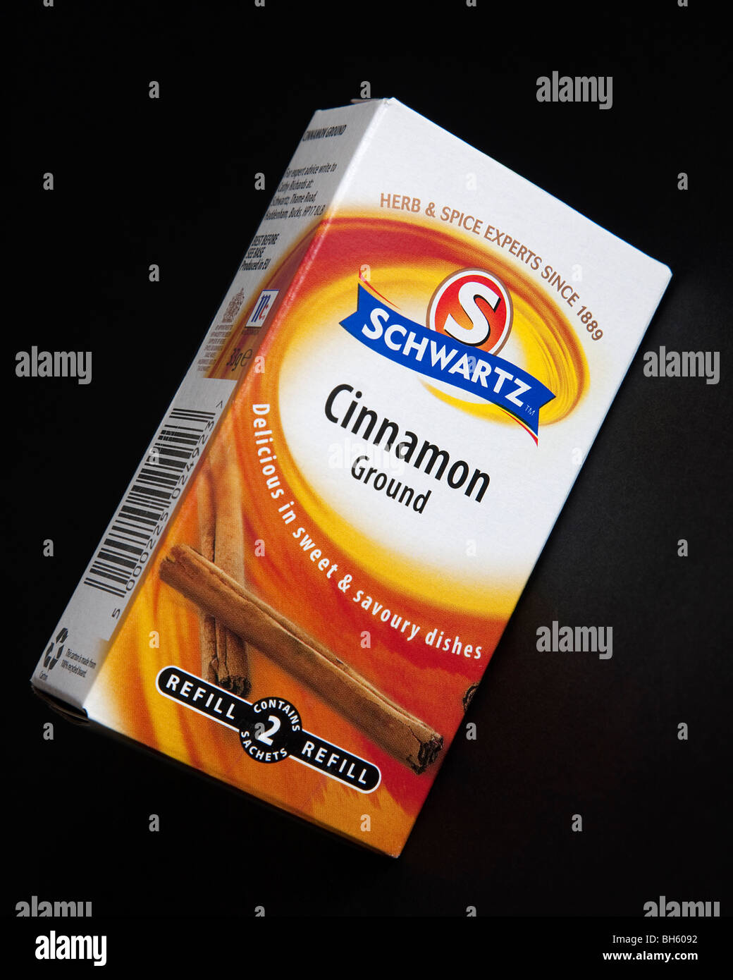 A refill pack of Schwartz ground cinnamon. - Stock Image