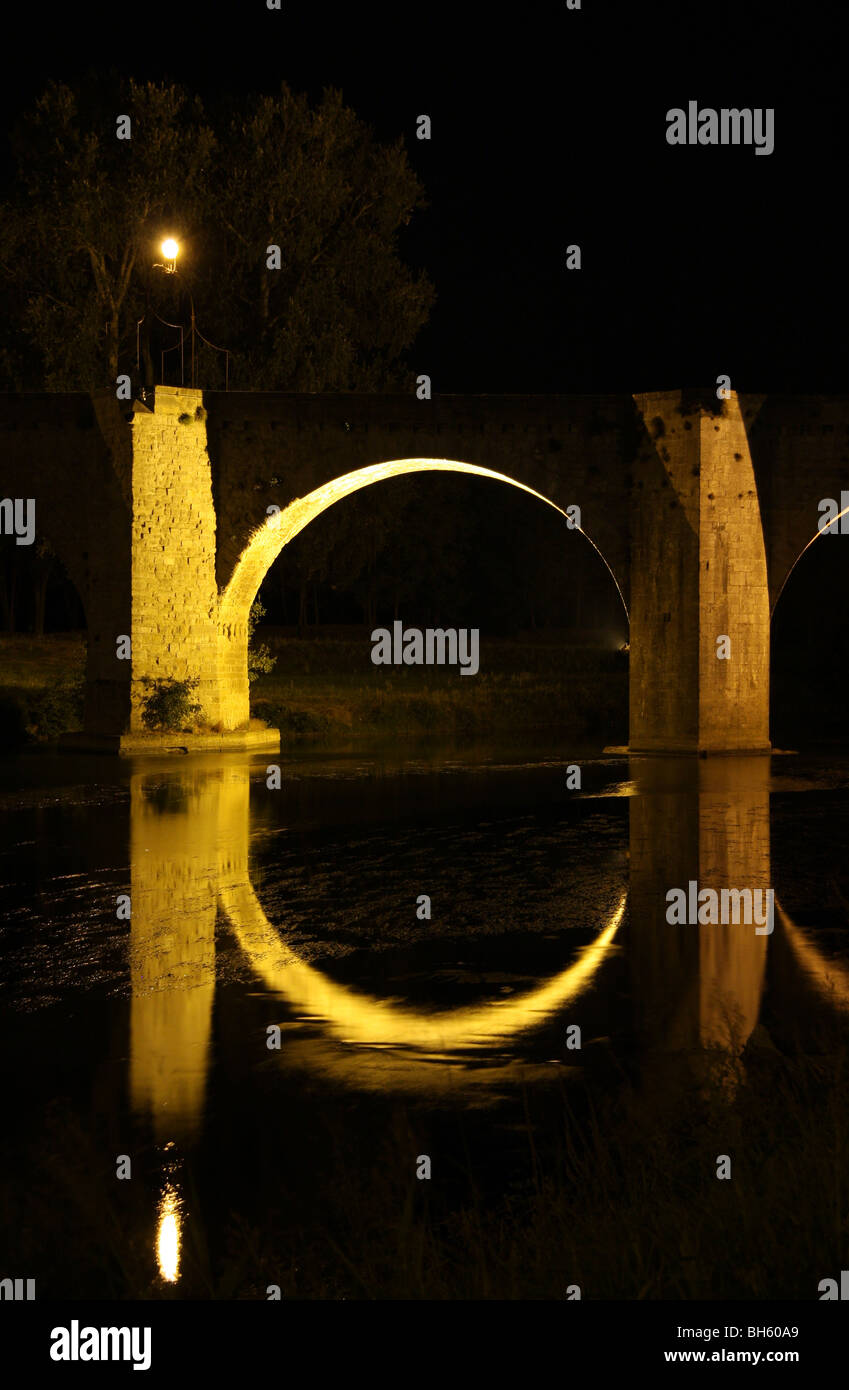 Medieval bridge nightscape reflection - Stock Image