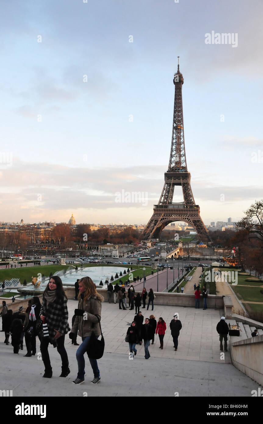 Champ de Mars and Eiffel tower Paris France - Stock Image