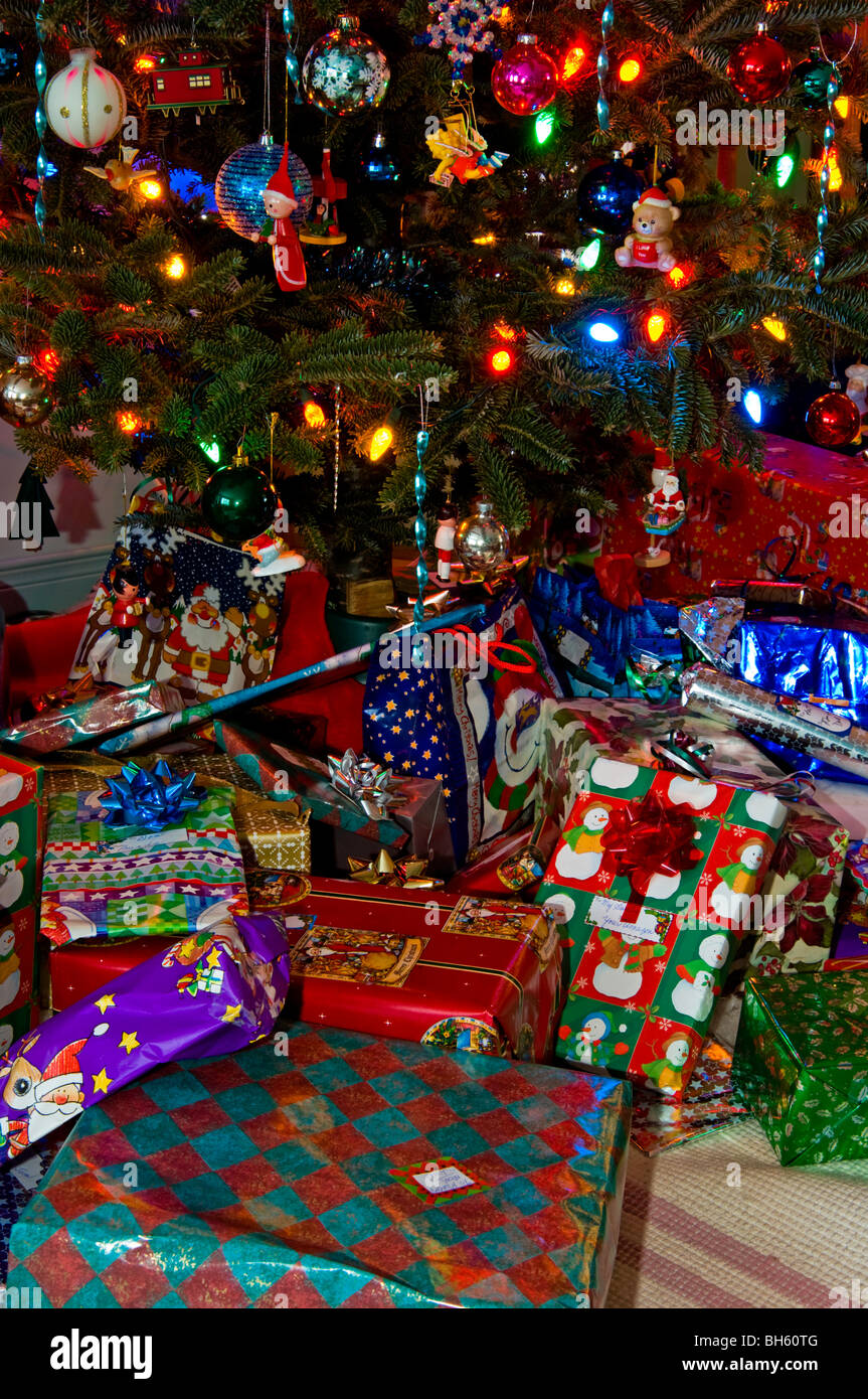 Christmas Presents And Gifts Under A Tree On Morning Greater Sudbury Ontario