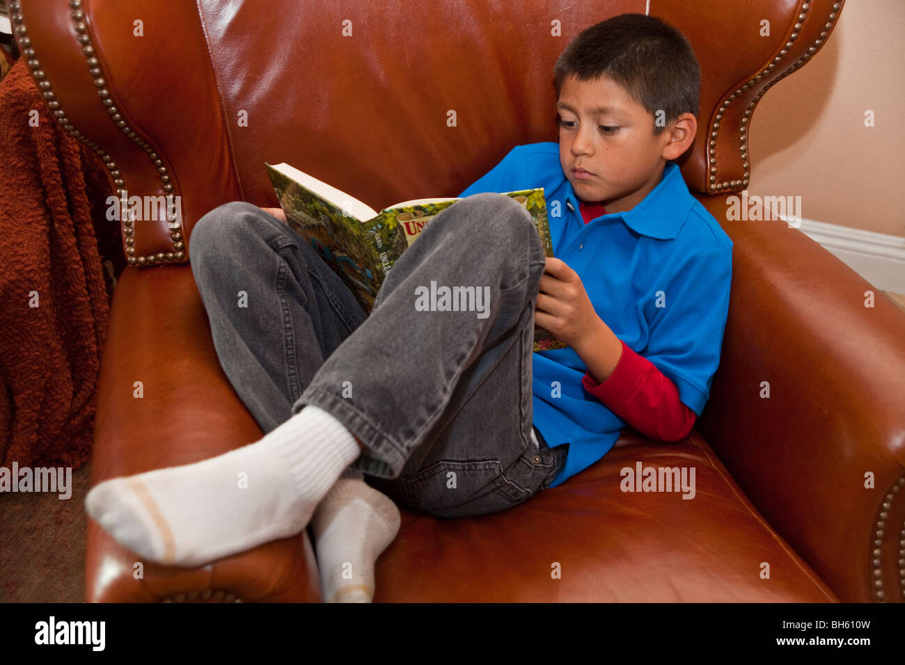 multi racial diversity racially diverse multicultural cultural 8 year old boy reading book relax relaxing relaxes - Stock Image