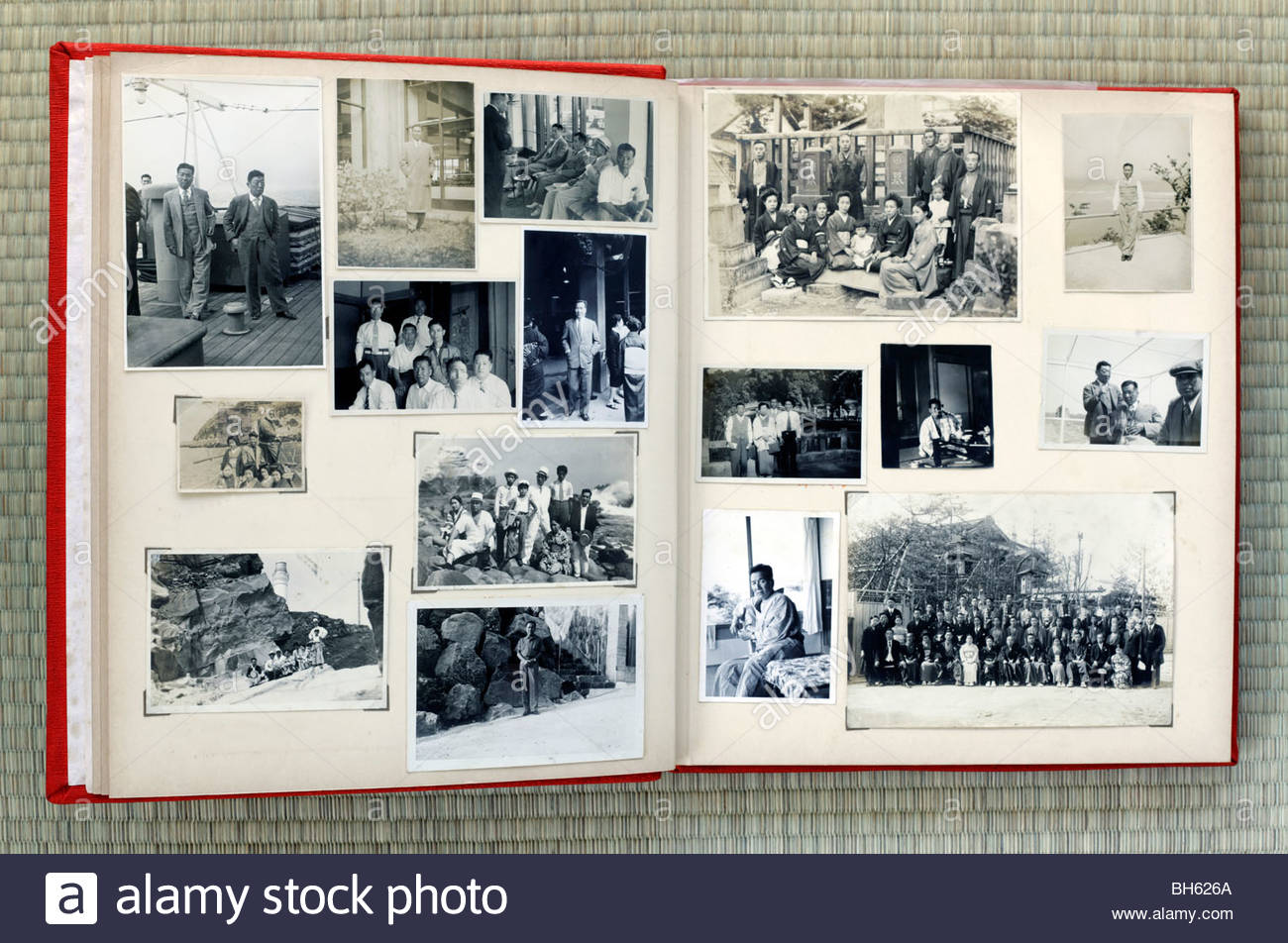 Open Page Of An Old Family Photo Album Japan Asia 1930s Through