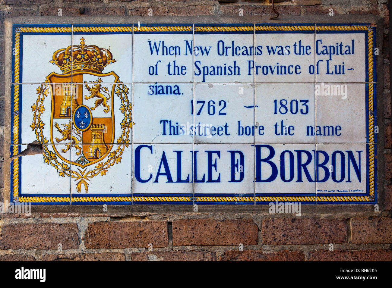 Calle d Borbon, Bourbon street sign in the French Quarter of New Orleans, LA - Stock Image