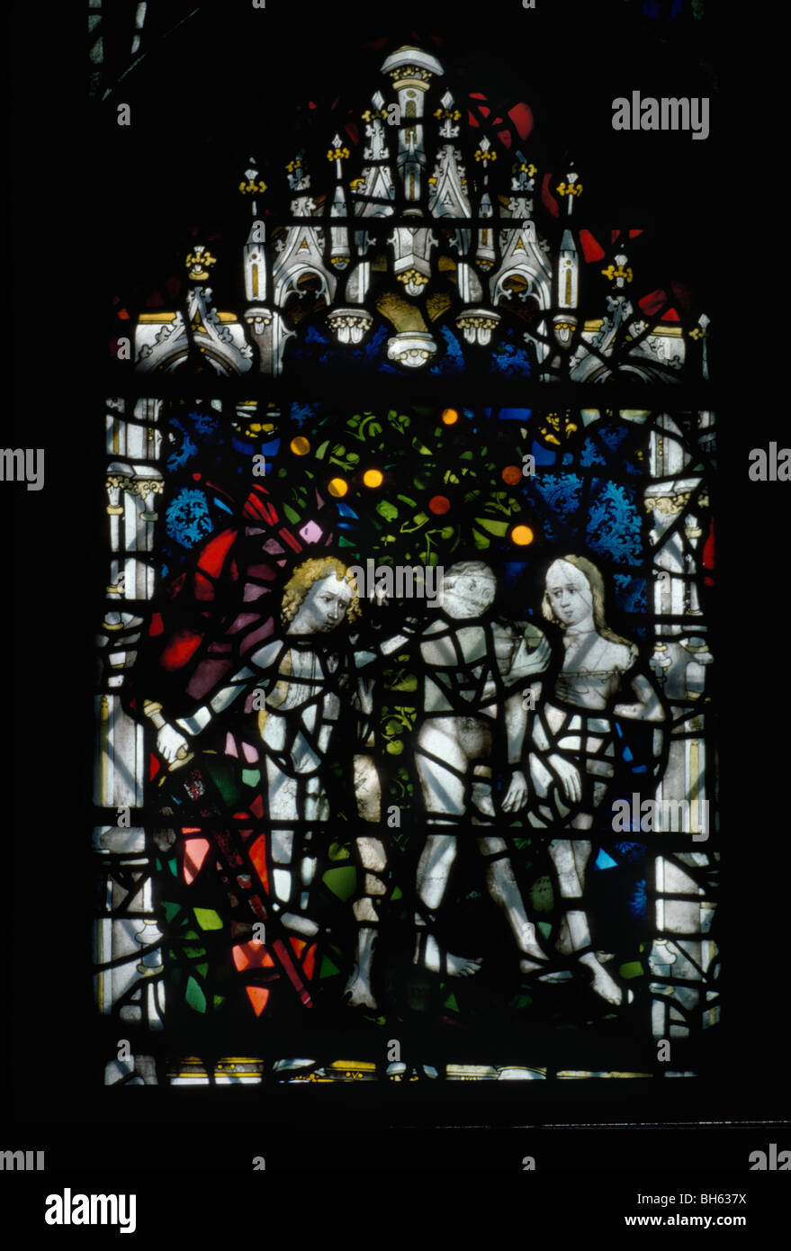 York Minster, The Great East Window, 1405-8 , by John Thornton, expulsion from the Garden of Eden - Stock Image