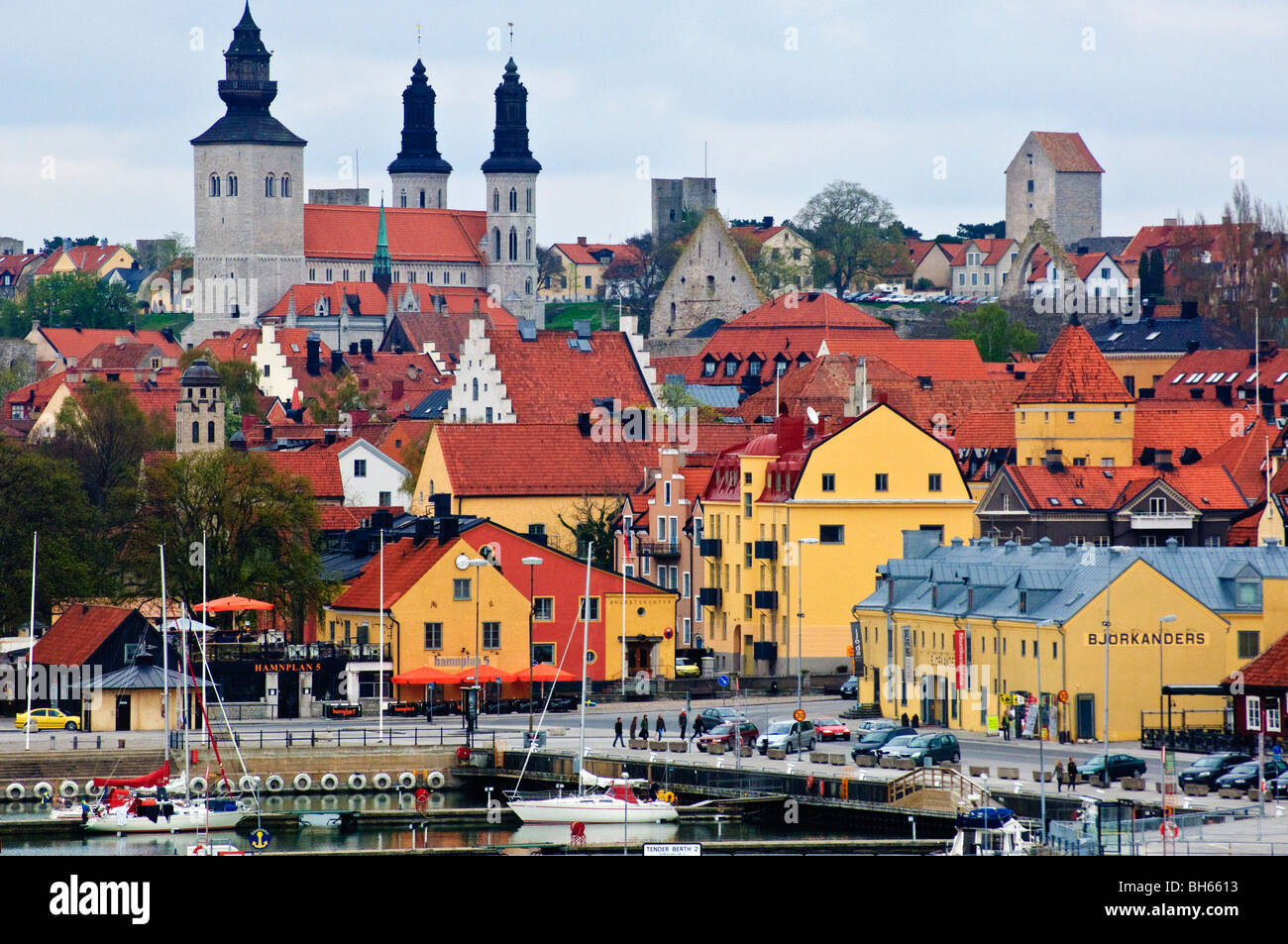 The medieval Hanseatic city of Visby, Gotland, Sweden - Stock Image