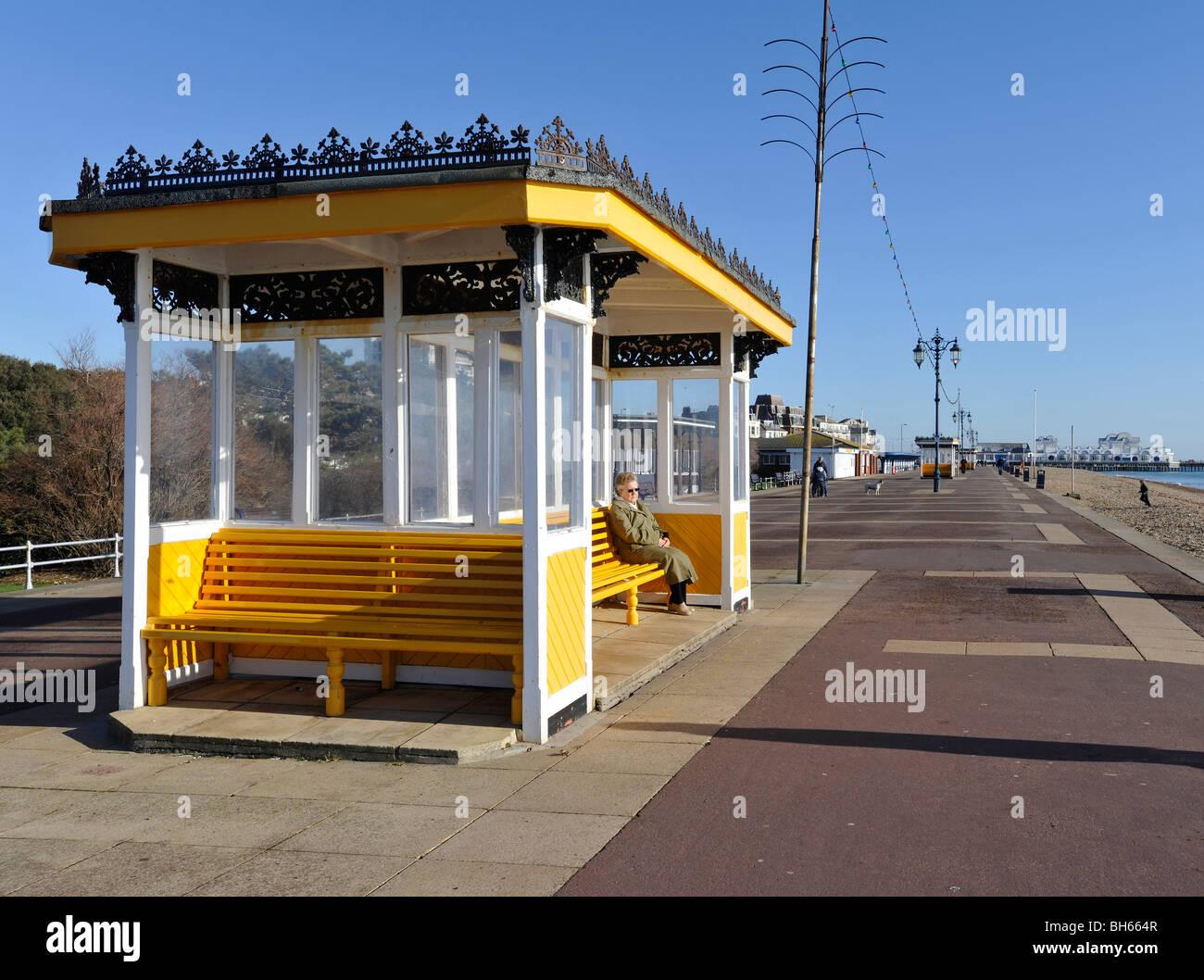 Promenade shelter, Southsea Seafront, Portsmouth, Hampshire, England, Uk. Stock Photo