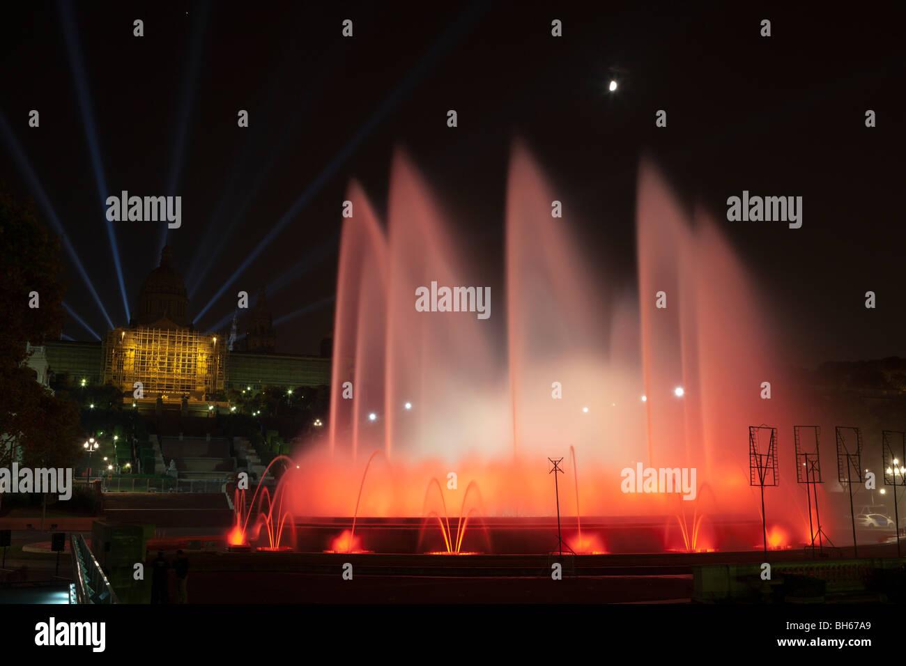 Illuminated Fountain Font Magica at Montjuic, Barcelona, Catalonia, Spain - Stock Image