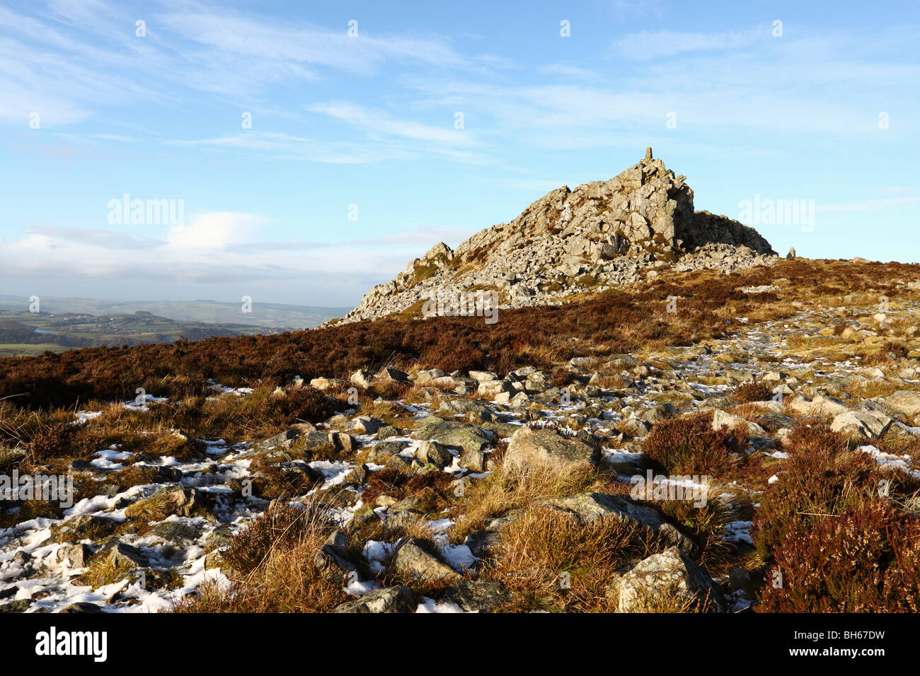 Manstone Rock, high point along the Stiperstones ridge in the Shropshire Hills AONB - Stock Image