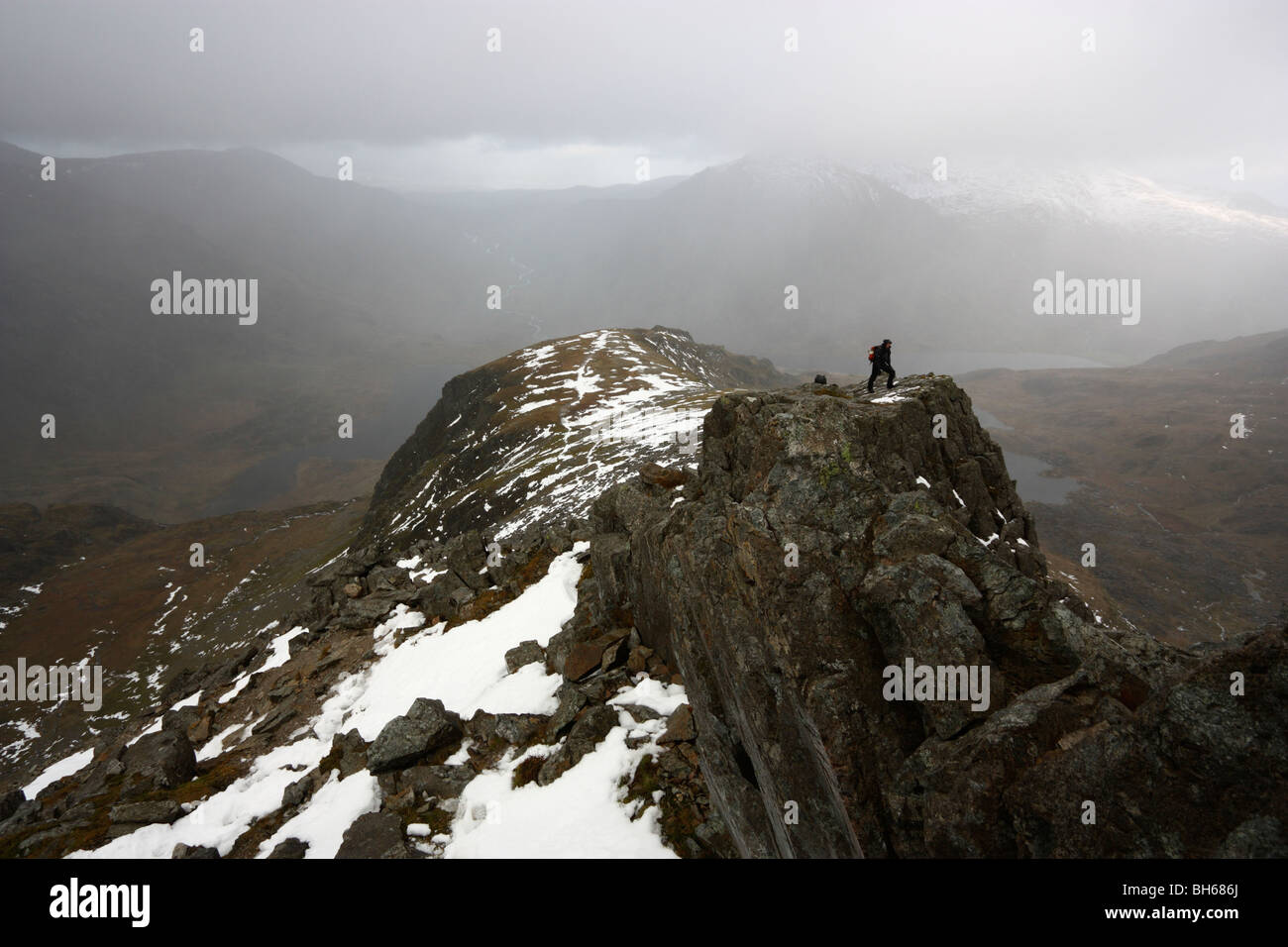 Hill walkers on the ridge of Y Gribin, a grade 1 scramble in the Glyderau mountains of Snowdonia - Stock Image