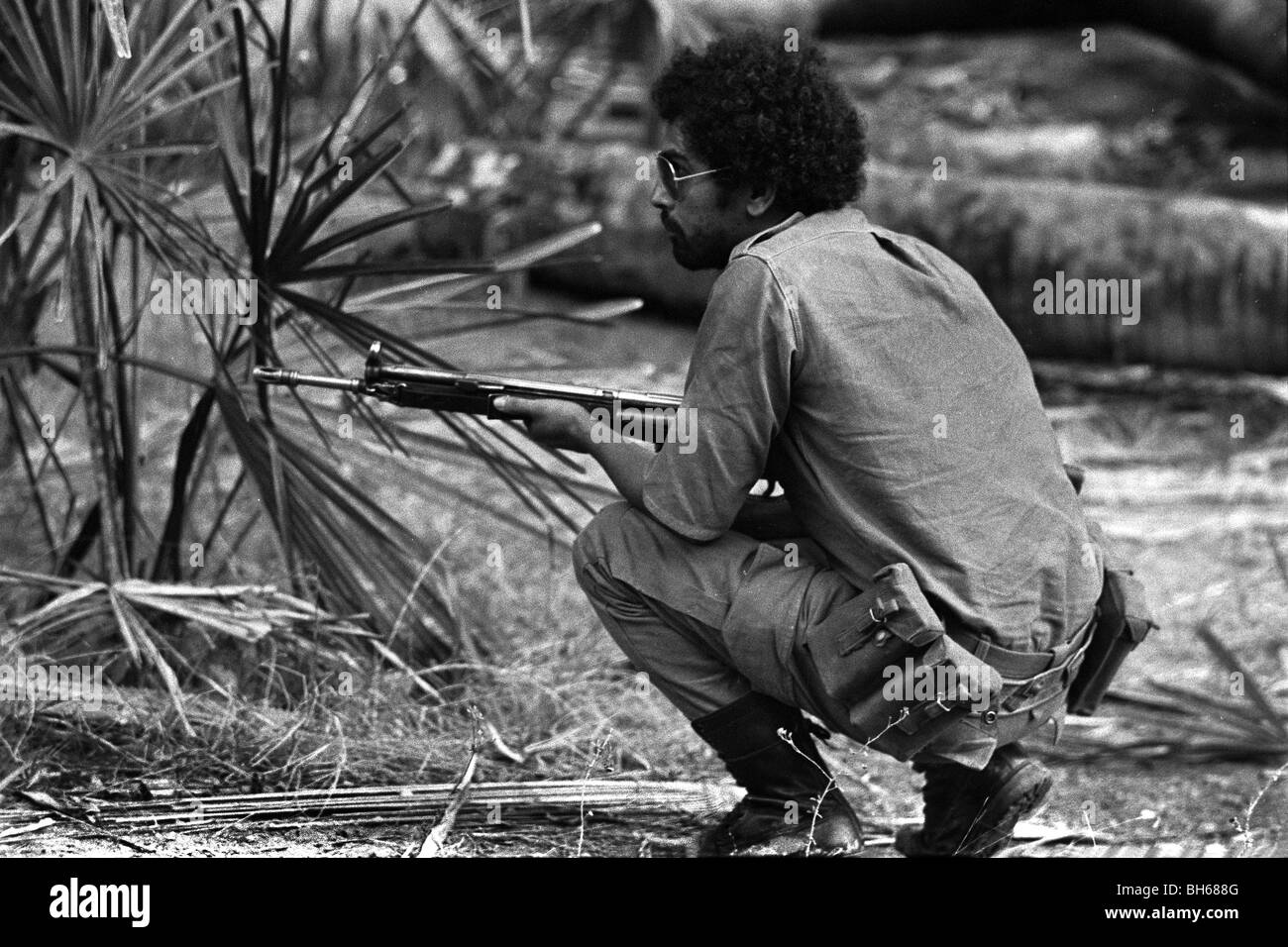 Jose Ramos-Horta near Batugade close to the border with Indonesia who making violent incursions into East Timor - Stock Image