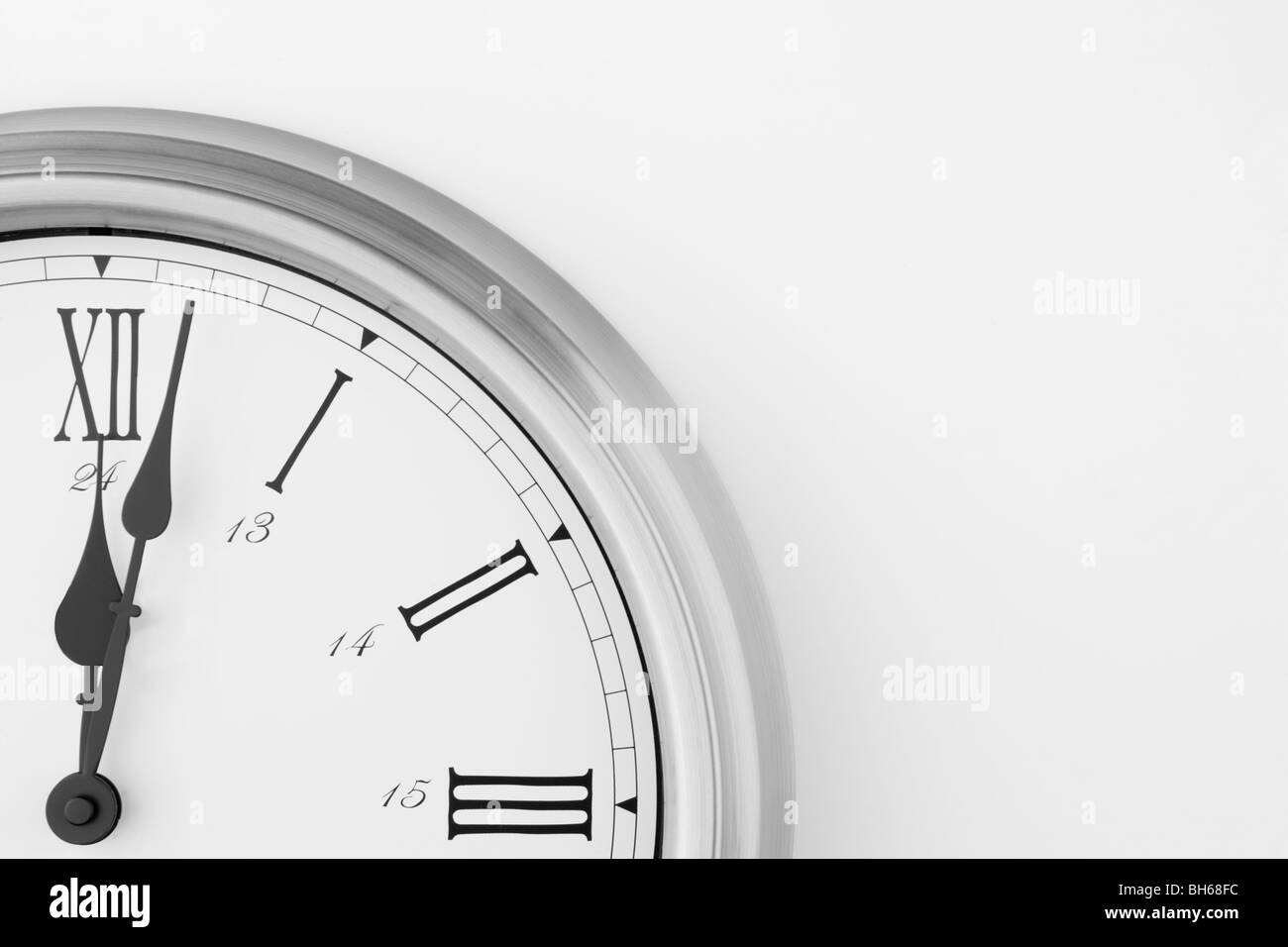 Clock Face Showing After Midnight - Stock Image