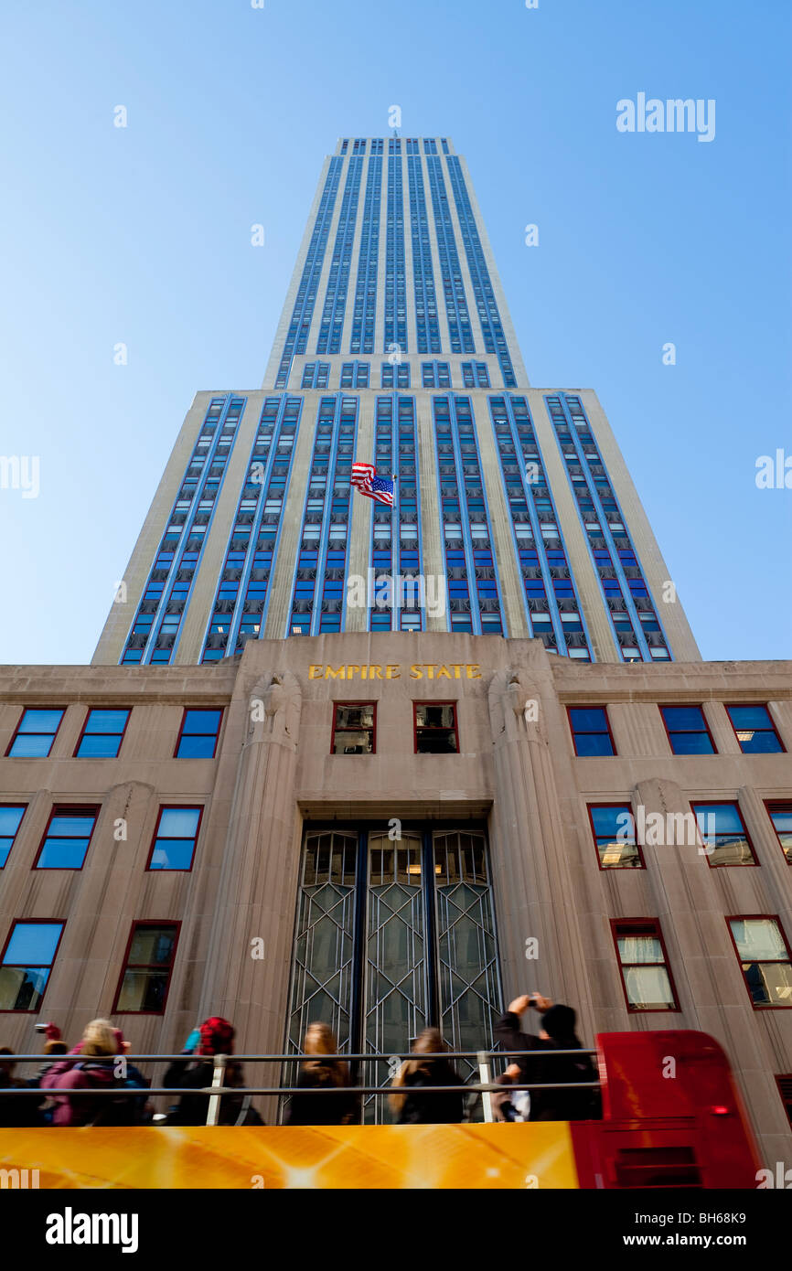 USA, New York City, Manhattan, Empire State Building - low angle view - Stock Image