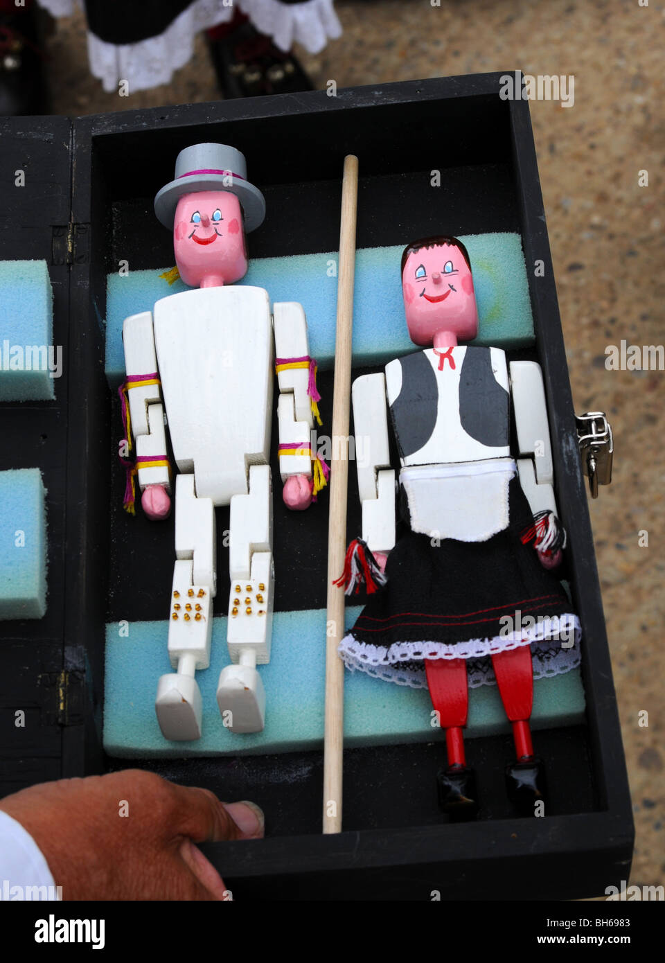 dancing dolls in morris costume still in their box - Stock Image