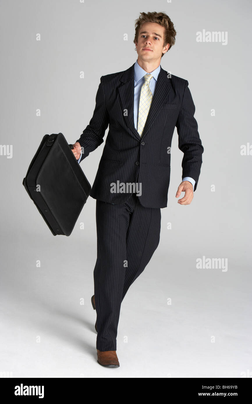 Full Length Portrait Of Businessman - Stock Image