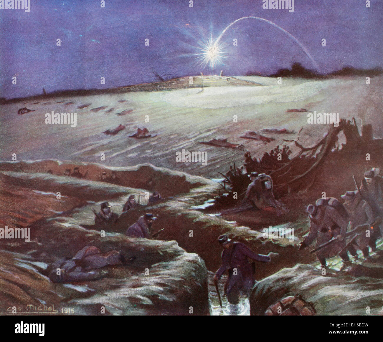 No Man's Land lit by a flare. Winter trench warfare during the First World War. - Stock Image