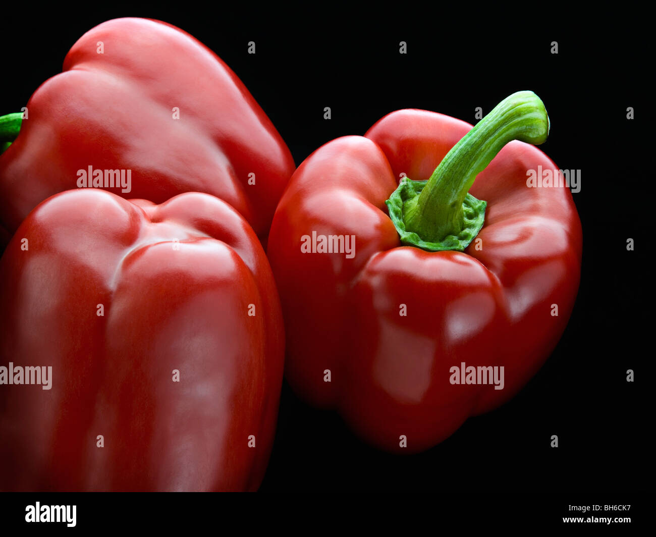 An aerial shot of some red peppers - Stock Image