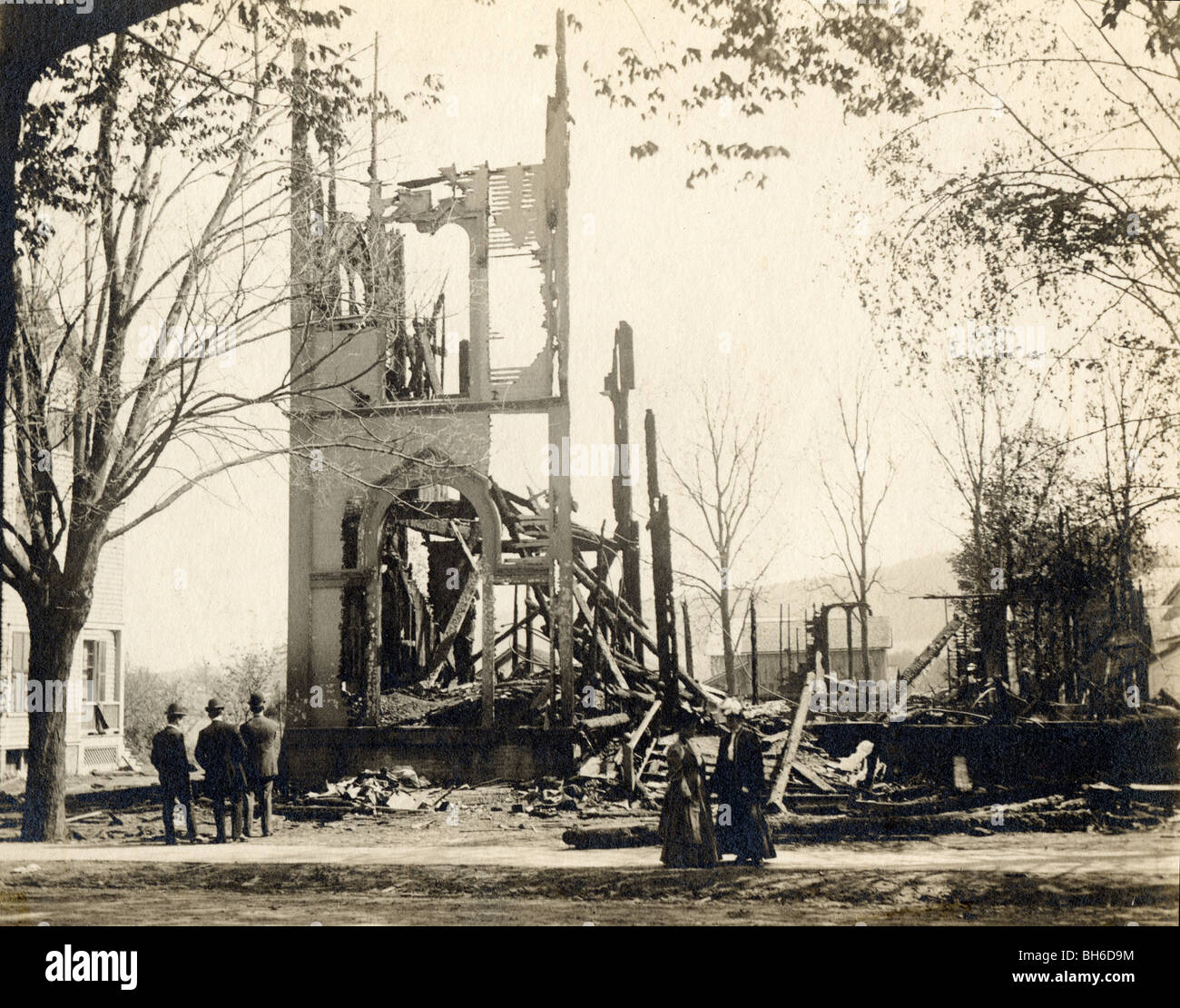 Ruins of Fire Destroyed Church Tower - Stock Image