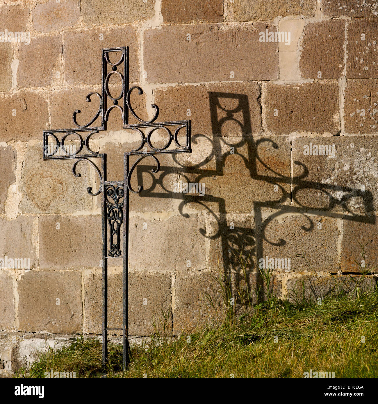 Cross of a cemetery of countryside. - Stock Image