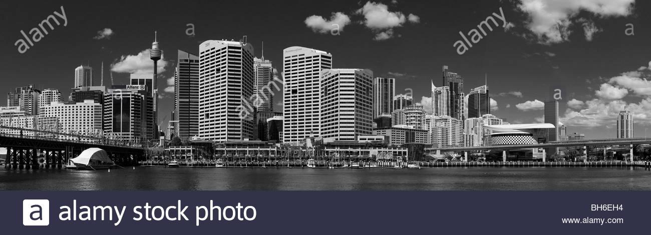 Black & White Panorama of Sydney CBD Skyline from Darling Harbour, NSW, Australia - Stock Image