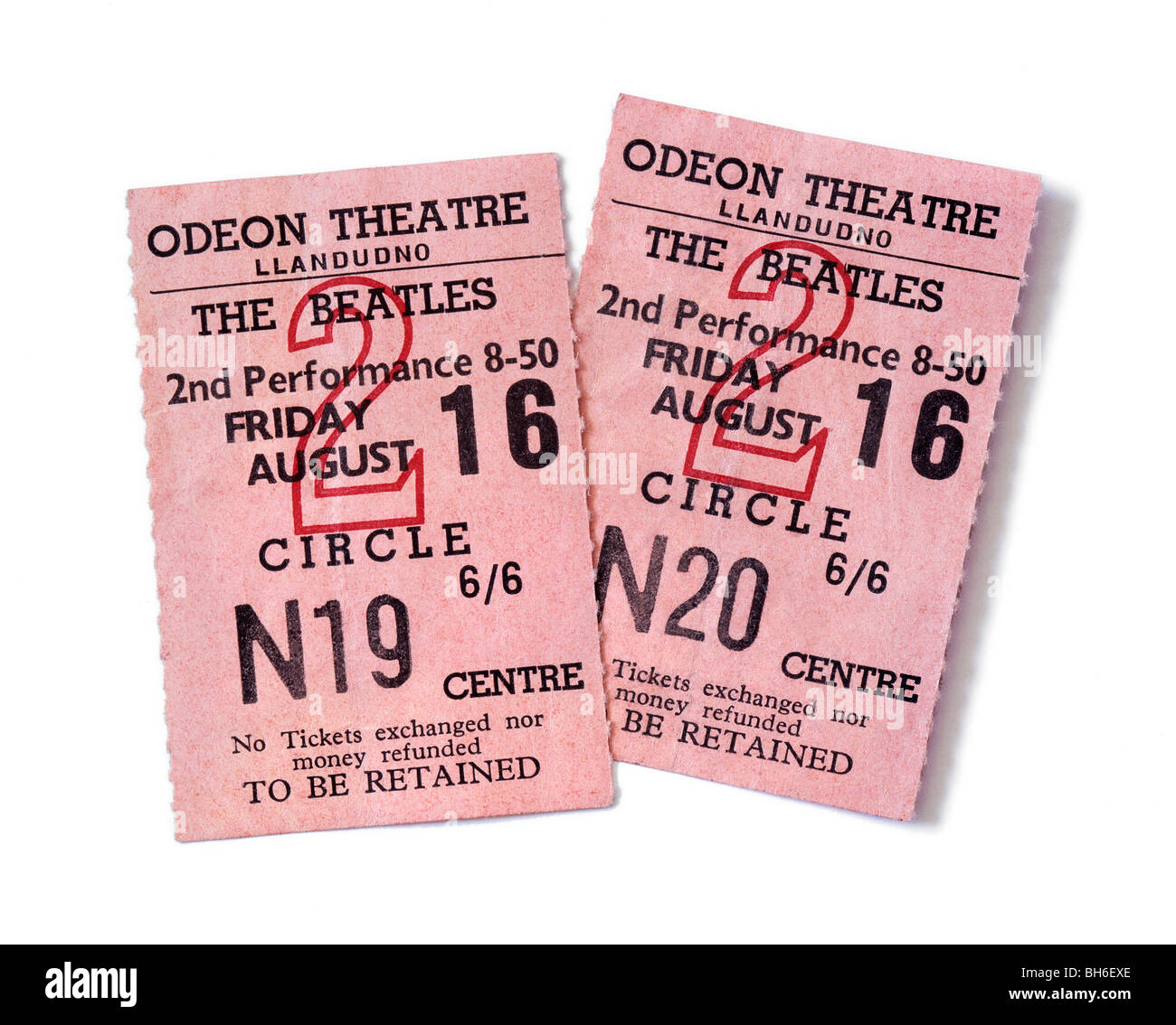 Tickets for a Beatles gig at the Odeon Theatre, Llandudno, North Wales, 16 August 1963 - Stock Image