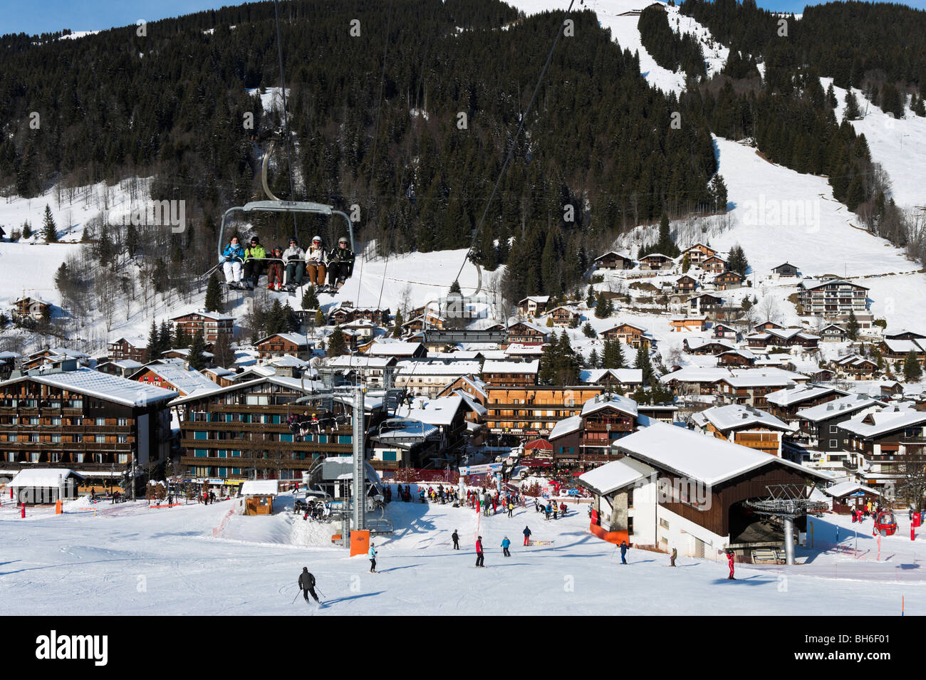 View over the resort of Les Gets from the slopes in the town centre, Portes du Soleil Ski Region, Haute Savoie, - Stock Image