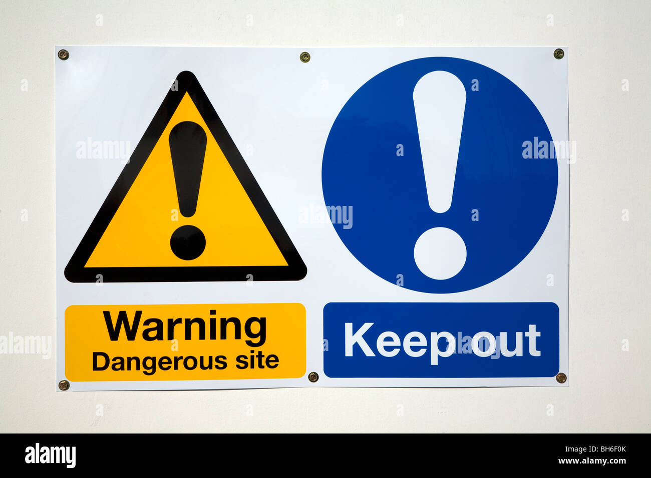 Warning signs danegerous site symbols Keep Out - Stock Image