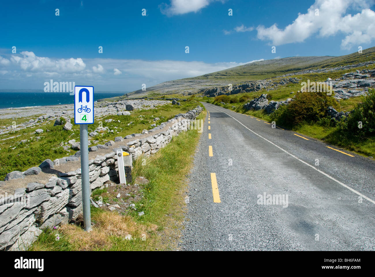 The coastal road in the Burren, looking towards Black head. Wild Atlantic Way Stock Photo