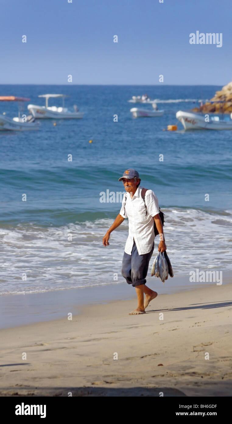 Escondido Oaxaca Mexico Beach With Local Man Walking