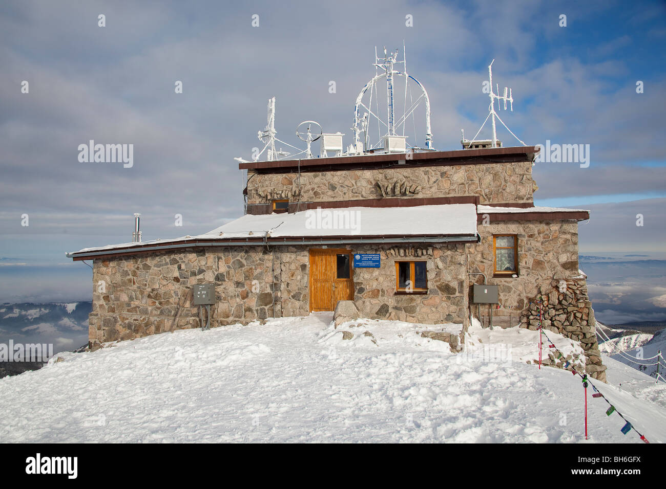 Meteorological observatory station on mountain summit, Kasprowy Wierch, Poland - Stock Image