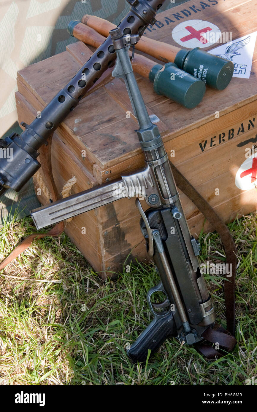 An array of german world war 2 weapons at the Victory Show - Stock Image