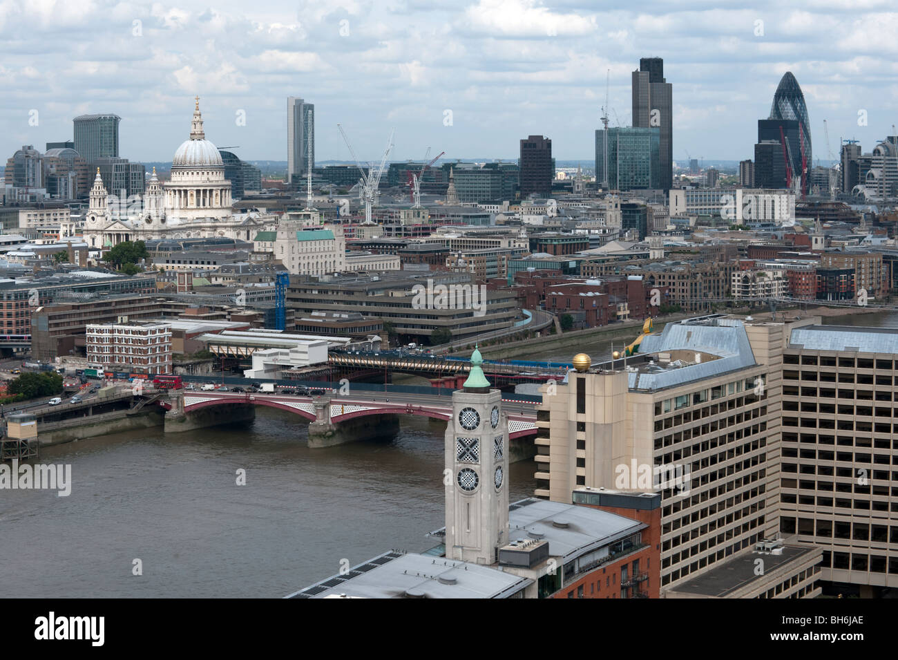 Panoramic view of City of London showing St Paul's Cathedral, Blackfriars Bridge, Swiss Re, Nat West Tower and The Stock Photo