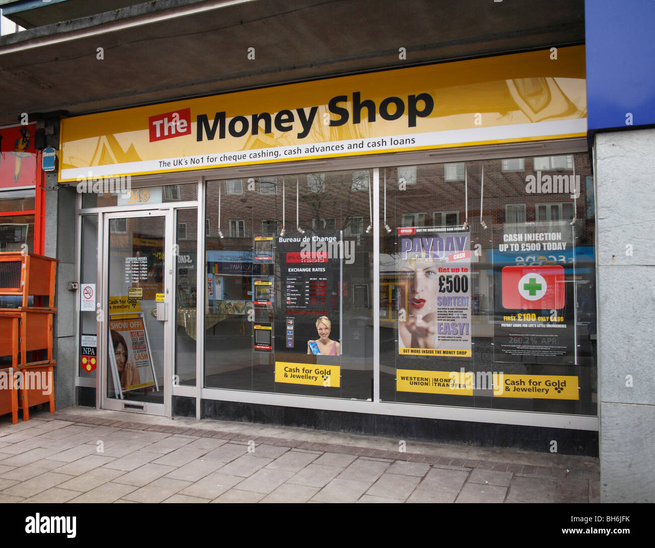 Window of the Money Shop Sidwell Street Exeter UK - Stock Image