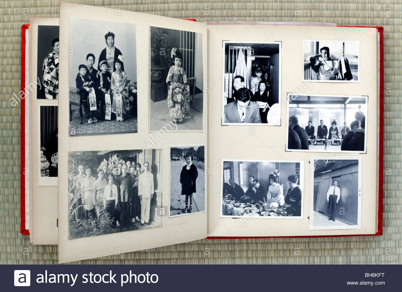 open page of a old family photo album Japan Asia 1960s Stock