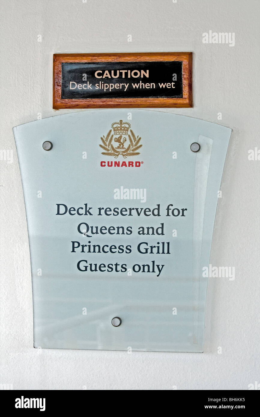 Reserved deck for Princess and Queen's grill customers on Cunard cruise ships, in this case Queen Mary 2 - Stock Image