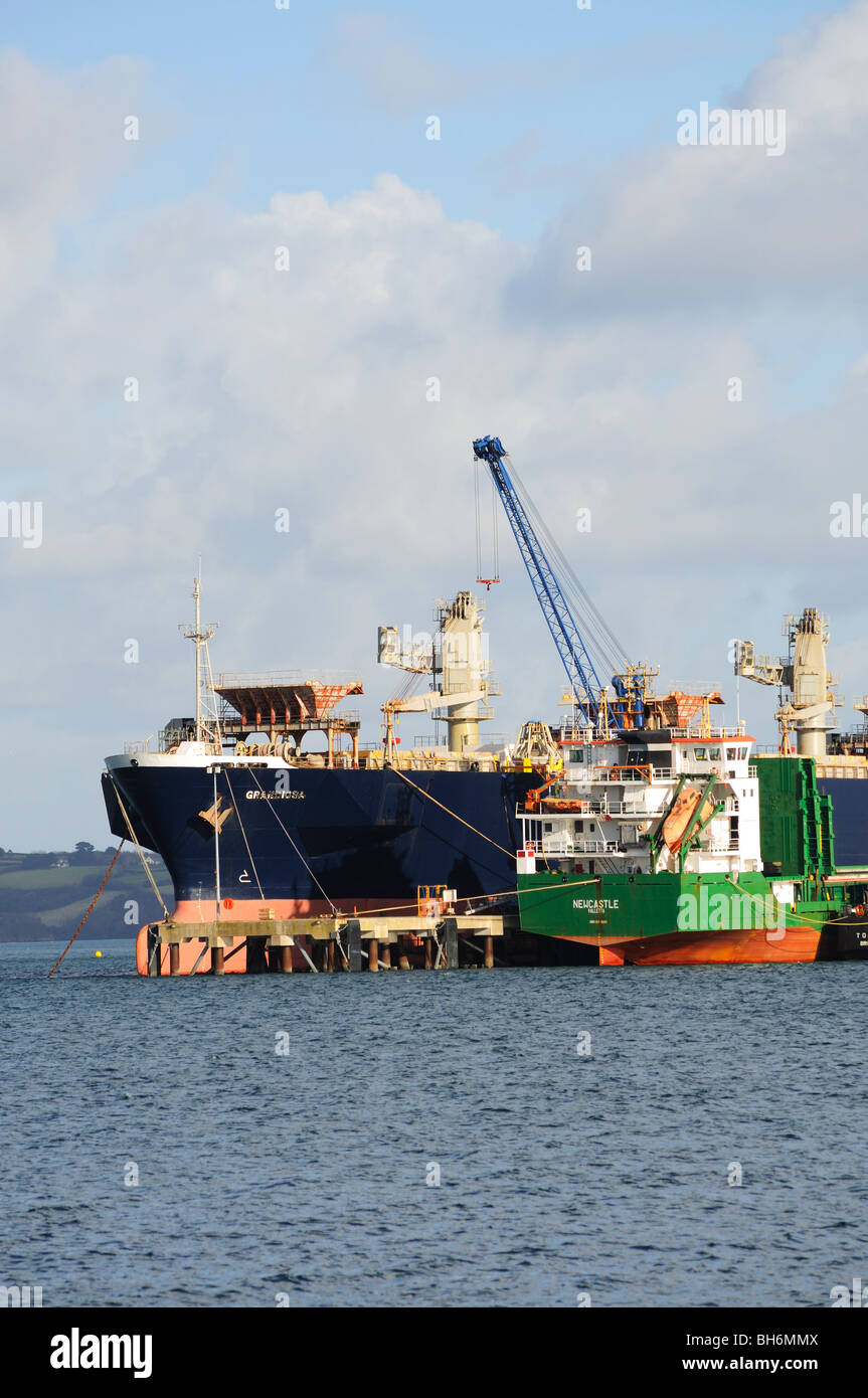 cargo ships being unloaded at falmouth docks, cornwall, england, uk - Stock Image