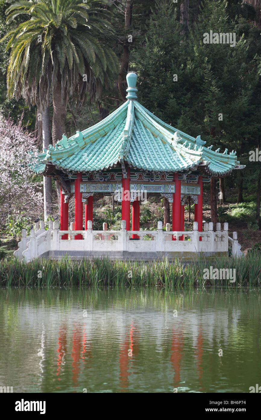 A Small Scale Pagoda On An Island In A Japanese Garden Stock ...