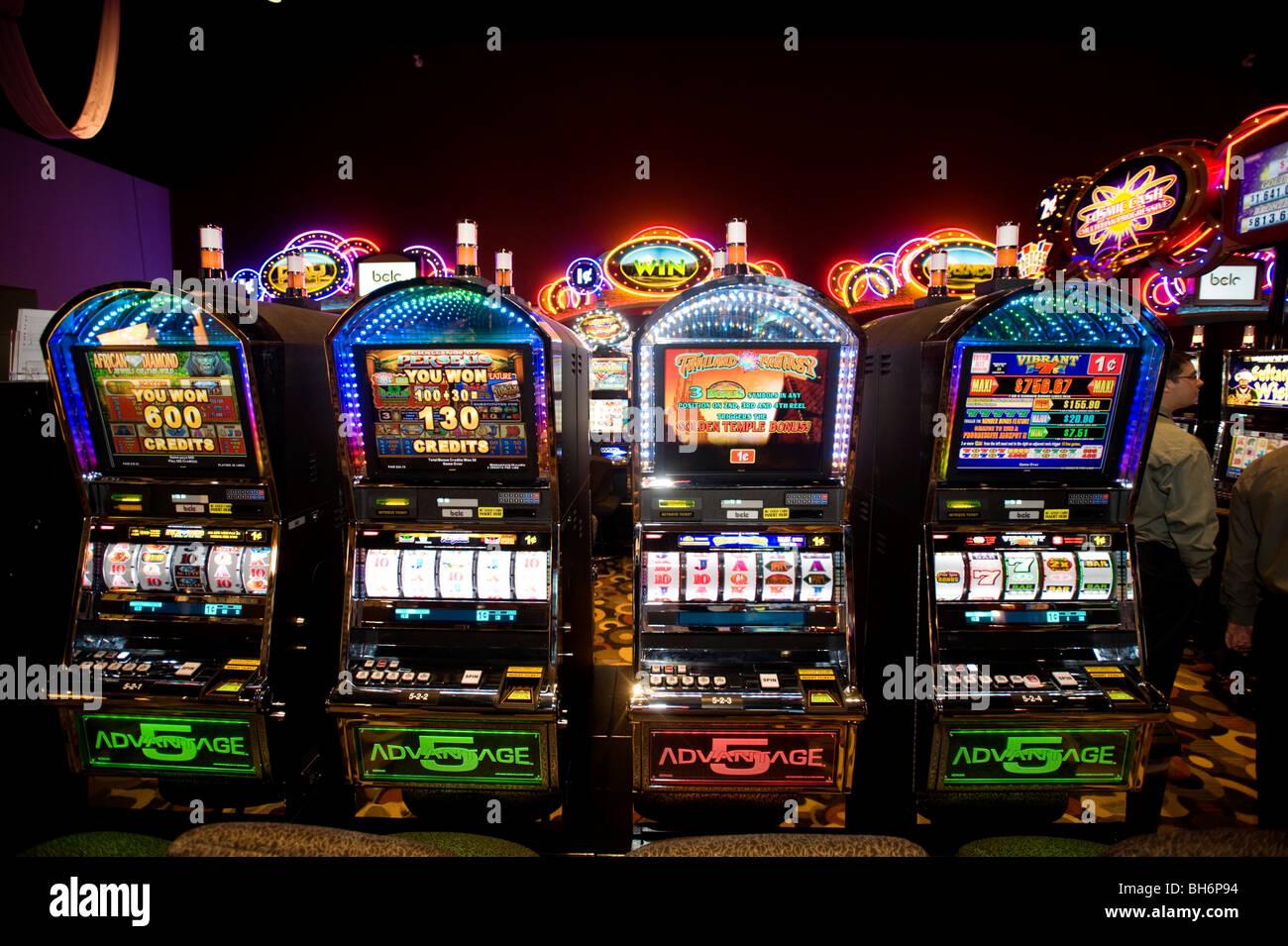 Slot machines at the Squamish Nation casino. - Stock Image