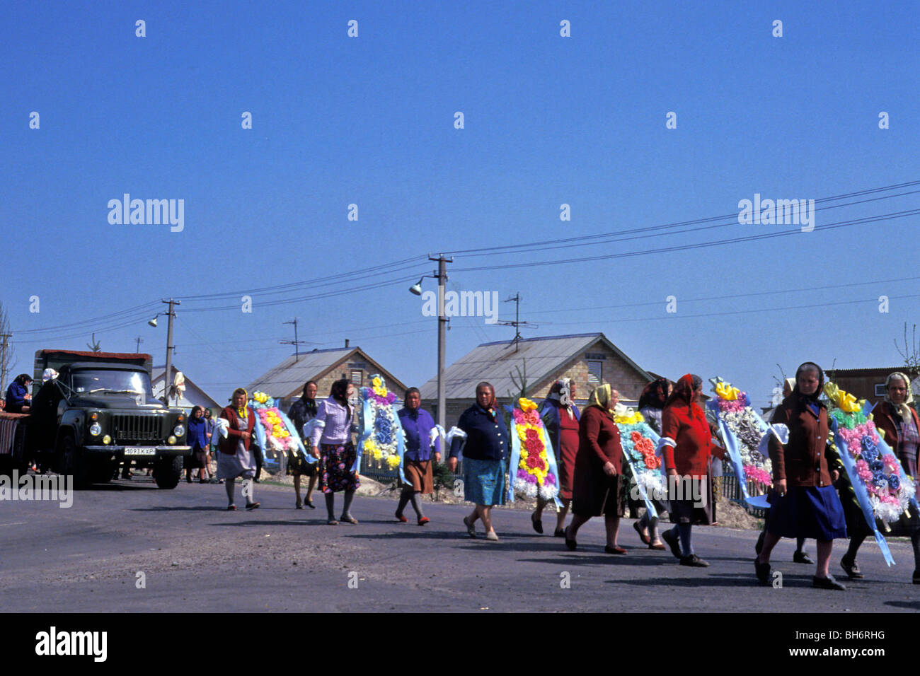 TRADITIONAL FUNERAL IN NEBRAT, RE-HOUSING TOWN OF CHERNOBYL, UKRAINE Stock Photo